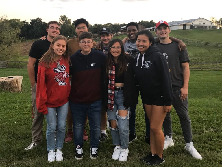 Freshman interns pose at the fall 2019 retreat